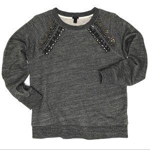 J. Crew Jeweled Raglan Sweatshirt in Gray
